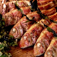 Mediterranean Grilled Mullets with Anchovy Sauce