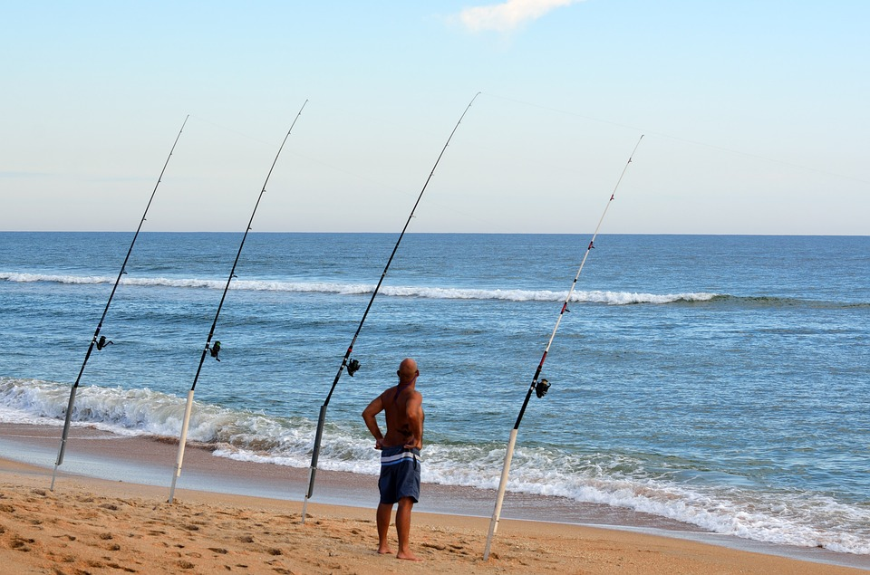 spinning reels at sea shore
